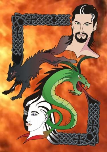 Loki und seine Kinder -ein Feuersturm im Hintergrund.