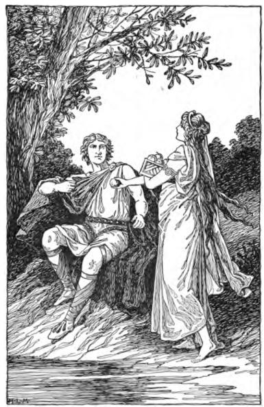 Idun reicht Loki einen Apfel, Darstellung von Foster, Mary H. 1901.