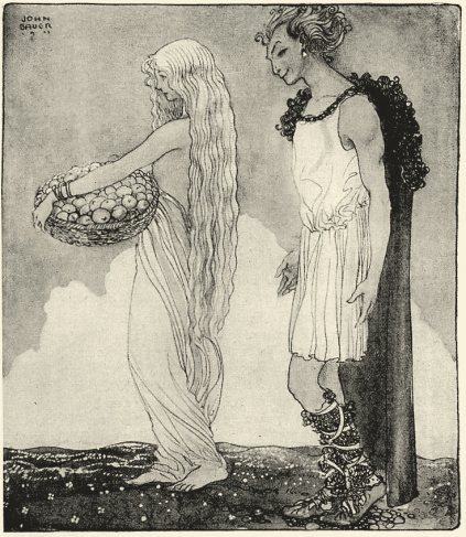 Loki und Iduna, Darstellung von John Bauer.