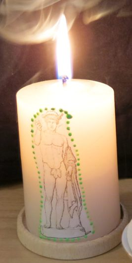 'Danke schön' Kerze an Merkur für Hilfe in einer für mich schwierigen Situation.