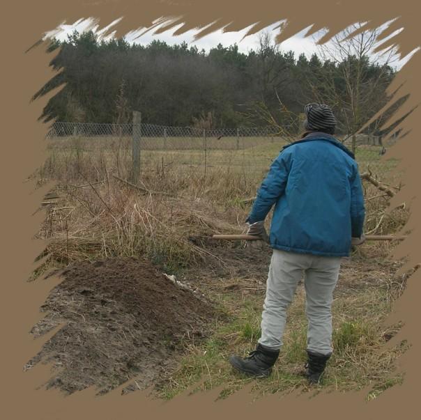 Brighid arbeitet am Hügelbeet