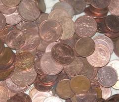 Jeder Cent hat seinen Wert. Kupfercents sind tatsächlich einen Cent wert.