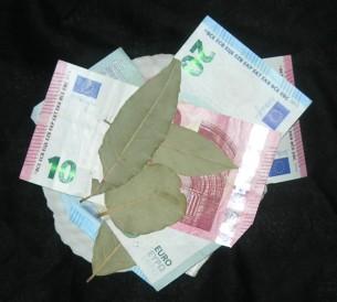 Manche Hexen legen Lorbeerblätter zwischen die Geldscheine in ihrer Börse.