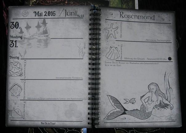 Von mir gestaltete Doppelseite aus dem Kalender des Jahres 2016. Er stand unter dem Motto 'Wasser'.